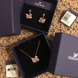 Swarovski swan earrings + pendant bundle